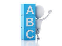 gente bianca 3d con i cubi di ABC su fondo bianco Immagine Stock Libera da Diritti