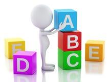 gente bianca 3d con i cubi di ABC su fondo bianco Fotografia Stock