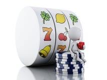 gente bianca 3d con lo slot machine, i dadi ed i chip Immagini Stock Libere da Diritti