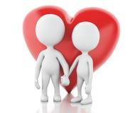 gente bianca 3d e cuore rosso Coppie nell'amore Immagine Stock