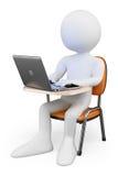 gente bianca 3D. Studente nella classe con un computer portatile Fotografia Stock