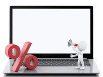 gente bianca 3d sul computer portatile Concetto online di acquisto Fotografia Stock Libera da Diritti