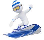gente blanca 3D. Snowboard Fotografía de archivo