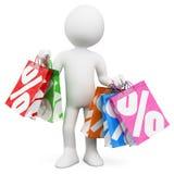gente blanca 3D. Ventas de las compras Fotografía de archivo libre de regalías