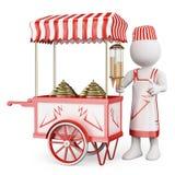 gente blanca 3D. Carro tradicional del helado Imagen de archivo