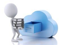 gente blanca 3d con almacenamiento y la nube de fichero Estafa computacional de la nube Imágenes de archivo libres de regalías