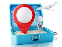 gente blanca 3d con el indicador del mapa en una maleta del viaje Fotos de archivo