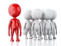 gente blanca 3d con el líder rojo Concepto de las personas Imágenes de archivo libres de regalías