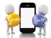 gente blanca 3d con smartphone Media sociales Foto de archivo libre de regalías