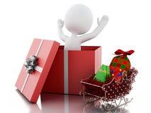 gente blanca 3d dentro de una caja de regalo Concepto de la Navidad Foto de archivo