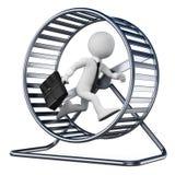 gente blanca 3D. Hombre de negocios en una rueda del hámster Imagen de archivo