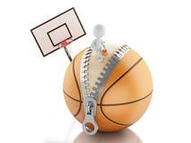 gente blanca 3d que juega encima de bola del baloncesto Imagen de archivo libre de regalías
