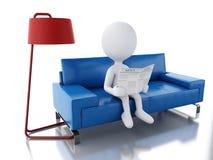 gente blanca 3d que lee un periódico, sentándose en una butaca Imágenes de archivo libres de regalías