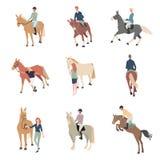 Gente a caballo Un jinete en un horse El caballo cr?a los iconos planos del color fijados stock de ilustración
