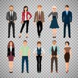 Gente casuale dell'ufficio su fondo trasparente illustrazione di stock