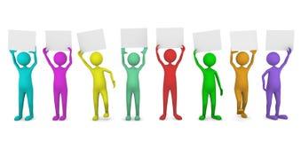 Gente colorida que sostiene las tarjetas de papel Fotos de archivo libres de regalías