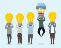 Gente con el ejemplo brillante de las ideas ilustración del vector