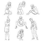 Gente con emociones deprimidas en diversas actitudes ilustración del vector