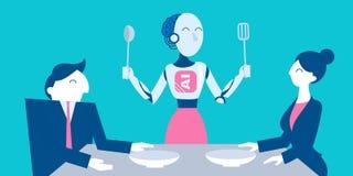 Gente con inteligencia artificial stock de ilustración