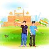 Gente con la bandera india stock de ilustración