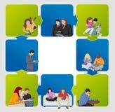 Gente con las tablillas ilustración del vector