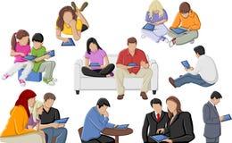 Gente con las tablillas stock de ilustración