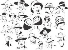 Gente con los sombreros Imágenes de archivo libres de regalías