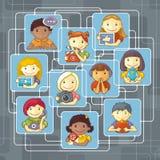 Gente conectada con medios sociales ilustración del vector