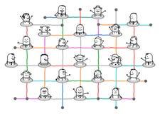 Gente conectada historieta en red social grande libre illustration