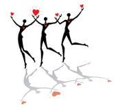 Gente corriente con los corazones Imágenes de archivo libres de regalías