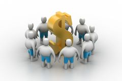 gente 3D alrededor de la muestra de dólar Imagen de archivo libre de regalías