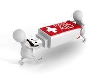 gente 3d con memoria USB de los primeros auxilios en el fondo blanco Fotos de archivo libres de regalías