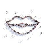 Gente 3d de la belleza de los labios Imagenes de archivo