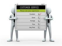 gente 3d que lleva a cabo el formulario de evaluación del servicio de atención al cliente Imagen de archivo