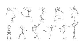 Gente de baile del pictograma, bosquejo a pulso stock de ilustración