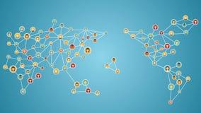 Gente de conexión del mundo, red del teléfono elegante del negocio global medios servicio social 3 ilustración del vector
