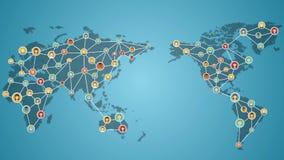 Gente de conexión del mundo, red del teléfono elegante del negocio global medios servicio social Ver 2 stock de ilustración