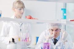 Gente de la ciencia en laboratorio brillante Fotos de archivo