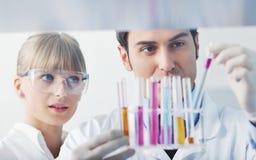 Gente de la ciencia en laboratorio brillante Foto de archivo
