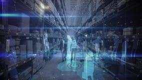 Gente de la composición waho0918jf de Warehouse en un almacén combinado con la animación de la gente conectada almacen de metraje de vídeo