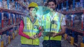 Gente de la composición de Warehouse en el almacén combinado con la animación de la tierra conectada almacen de video