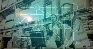 Gente de la composición de Warehouse que trabaja en el almacén combinado con la animación del connecti metrajes