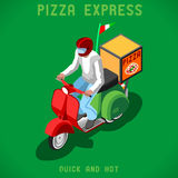 Gente de la entrega de la pizza isométrica Imagen de archivo libre de regalías