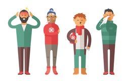 Gente de la gripe de la enfermedad que siente fría y que sopla su ejemplo del vector de la nariz stock de ilustración
