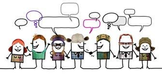 Gente de la historieta - red y diversidad sociales Foto de archivo libre de regalías