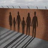 Gente de la inmigración en la frontera Imagenes de archivo