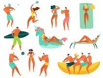 Gente de la playa La familia del océano del mar de las vacaciones de verano se relaja jugando a la gente de los deportes que nada stock de ilustración