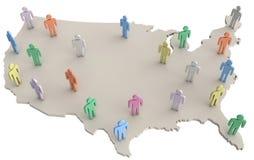 Gente de la población de los E.E.U.U. que se coloca en el mapa de América Foto de archivo libre de regalías
