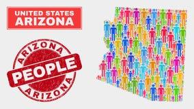 Gente de la población del mapa del estado de Arizona y sello sucio libre illustration