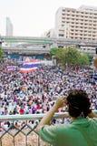 Gente de la protesta de Tailandia contra la corrupción gubernamental. Fotos de archivo